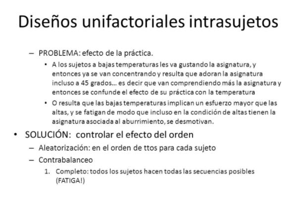 Diseños unifactoriales intrasujetos