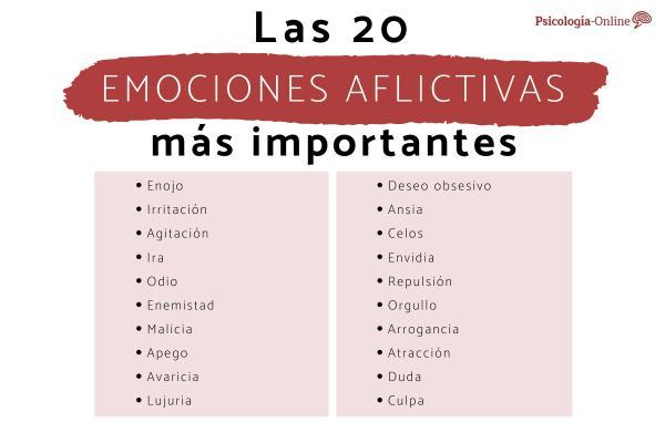 Qué son las emociones aflictivas: lista y ejemplos